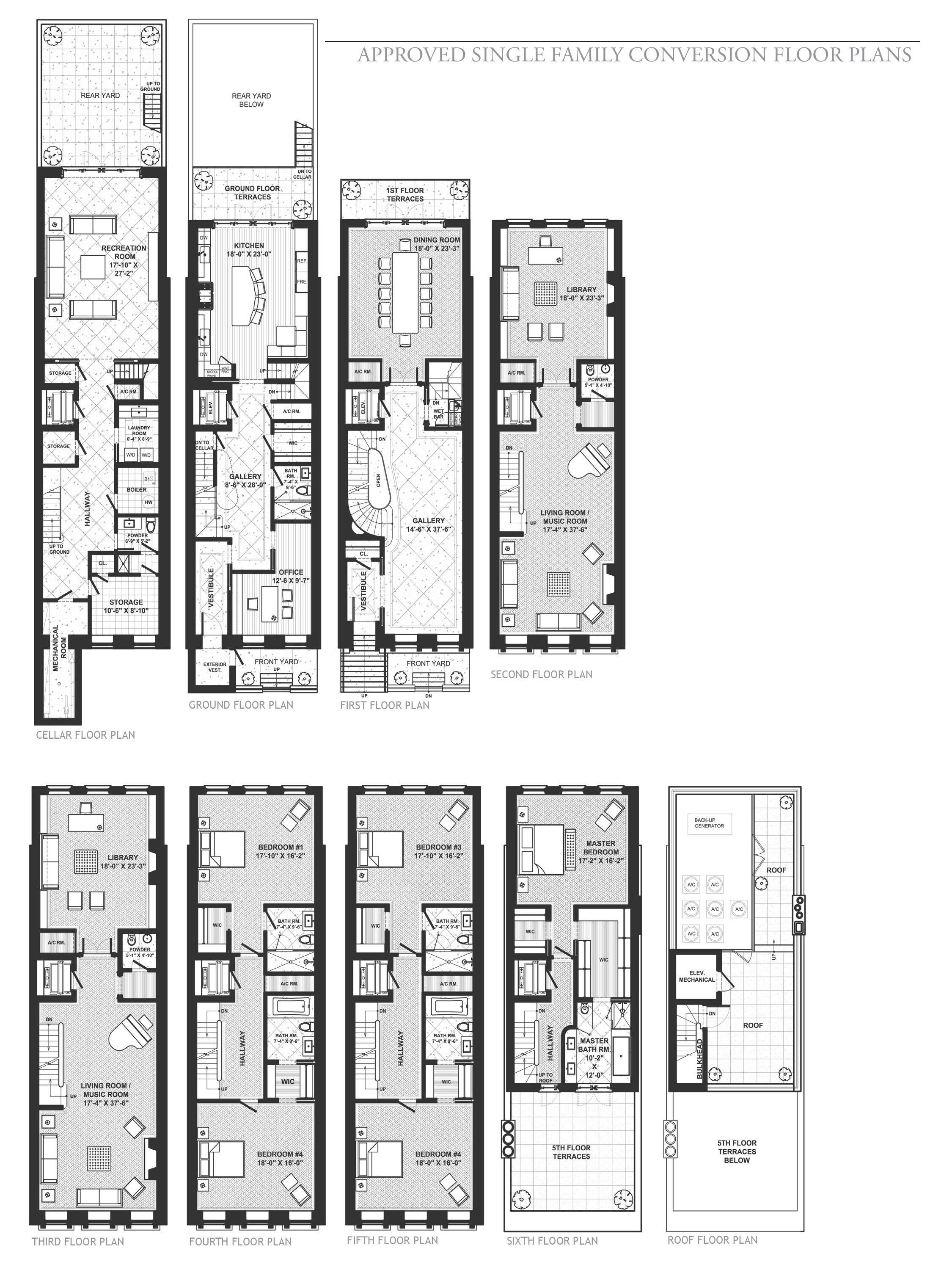 New york city townhouse floor plans for City home plans